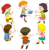 Group of kids passing present box. Illustration Stock Photos