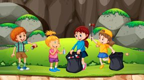 Group of kids picking up rubbish. Illustration vector illustration