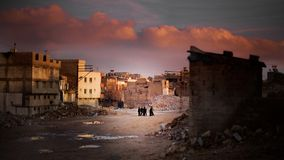 Antep. Group of kids play in an old neighborhood of Gaziantep, Turkey Stock Photo