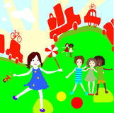 Group of kids playing. Group of kids on a planet earth background Royalty Free Stock Photos