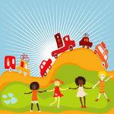 Group of kids playing. Group of kids on a planet earth background Royalty Free Stock Images