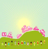 Group of kids playing. Group of kids on a planet earth background Stock Photo