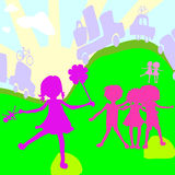 Group of kids playing. Group of kids on a planet earth background Royalty Free Stock Photography
