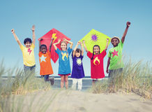 Group of Kids Playing on Beach.  royalty free stock photo