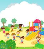 Group of kids and playing outdoor. Illustration of Group of kids and playing outdoor Royalty Free Stock Photography