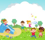 Group of kids and playing outdoor Royalty Free Stock Photos