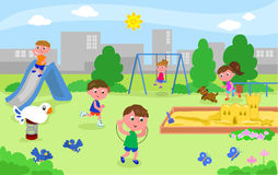 Group of kids playing at the playground Stock Photo