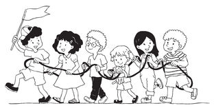 Group of kids is playing rope train. Create by vector Royalty Free Stock Image