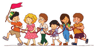 Group of kids is playing rope train Stock Photo