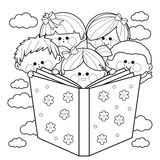 Group of kids reading a book coloring book page. Children reading together a big book. Black and white coloring page illustration Royalty Free Stock Image