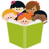 Group of kids reading a book. Vector illustration of a happy multi ethnic group of children reading together a big book Stock Photos
