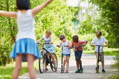 Group of kids ready for competition Stock Images