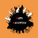 A group of kids are running happily on Halloween night. Halloween background from vector stock illustration