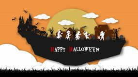 A group of kids are running happily on Halloween night. Halloween background from vector vector illustration