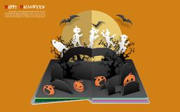 A group of kids are running happily on Halloween night. Halloween pop up book from vector.A group of kids are running happily on Halloween night vector illustration