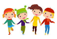 Group of kids running. Illustration of group of kids running royalty free illustration