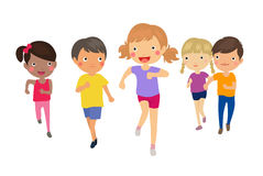 Group of kids running Royalty Free Stock Image