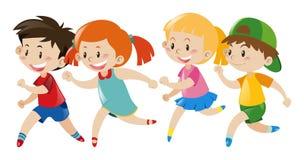 Group of kids running. Illustration stock illustration