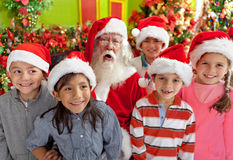 Group of kids with Santa Royalty Free Stock Photo