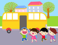 Group of kids and school bus. Illustration of group of kids and school bus Stock Image