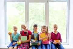 Kids at school stock images