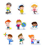 Group of kids set. Cartoon Illustration of Group of kids collection Stock Photos