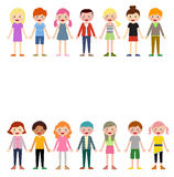 Group of kids set Royalty Free Stock Images