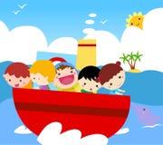 Group of kids on ship. Illustration of group of kids on ship Stock Photo