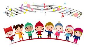 Group of kids singing Royalty Free Stock Photography