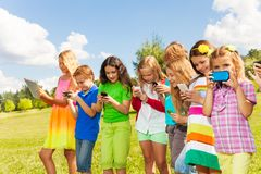 Group of kids social networking royalty free stock images