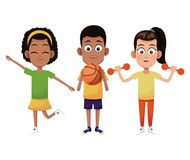 Group kids sport active. Vector illustration eps 10 stock illustration