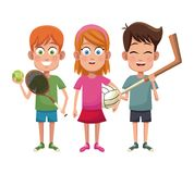 Group kids sport active. Vector illustration eps 10 royalty free illustration