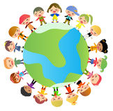 Group of kids standing around the world Royalty Free Stock Photos