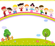 Group of kids standing on the rainbow Royalty Free Stock Photos