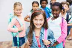 Group of kids standing on school terrace royalty free stock photos