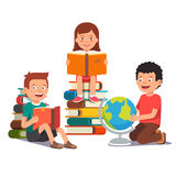 Group of kids studying and learning together Royalty Free Stock Images