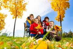 Group of kids under maple tree Stock Image