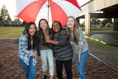 Group of kids under an umbrella in the rain Stock Photography