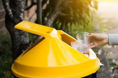 Group of kids volunteer help garbage collection charity. Royalty Free Stock Photography