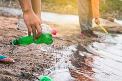 Group of kids volunteer help garbage collection charity environm. Ent stock photography