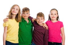 Group of kids wearing colorful shirts. Stock Images