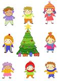 Group of kids on winter stock illustration