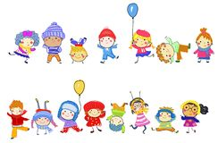 Group of kids on winter Royalty Free Stock Photos