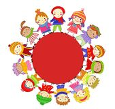 Group of kids on winter vector illustration