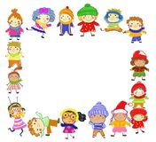 Group of kids on winter royalty free illustration