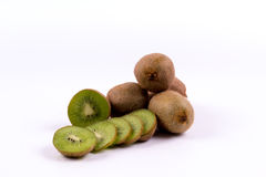 Group of kiwi fruits on a white background Stock Image