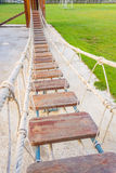 Group knot of rope in wooden bridge.selective focus Stock Photography