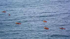 Group kyaking in the Adriatic sea, Croatia Stock Image