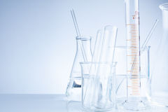 Laboratory glassware on table, Symbolic of science research. Royalty Free Stock Photography
