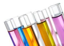 Group of laboratory test tubes in a rack, closeup Royalty Free Stock Photography